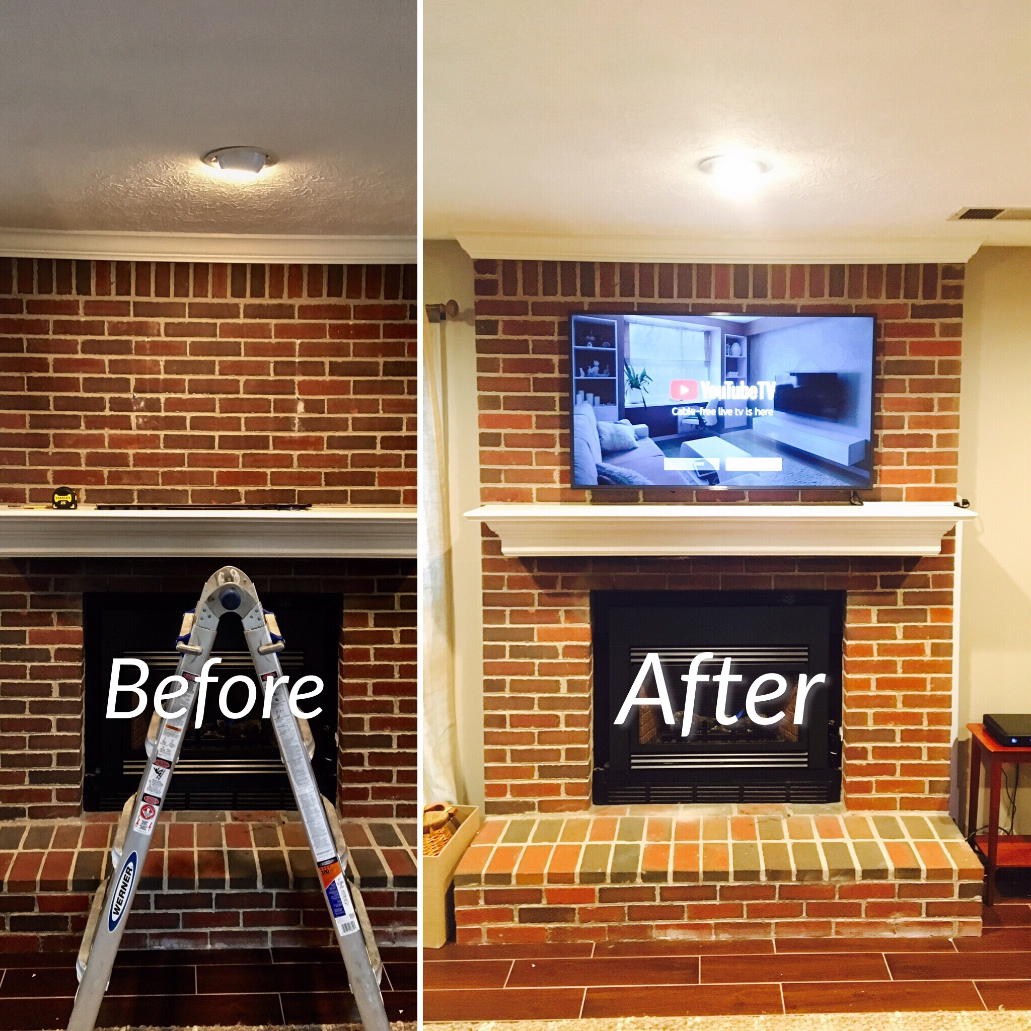 Outstanding Tv Mounted On A Brick Fireplace In Lexington Kentucky Interior Design Ideas Ghosoteloinfo