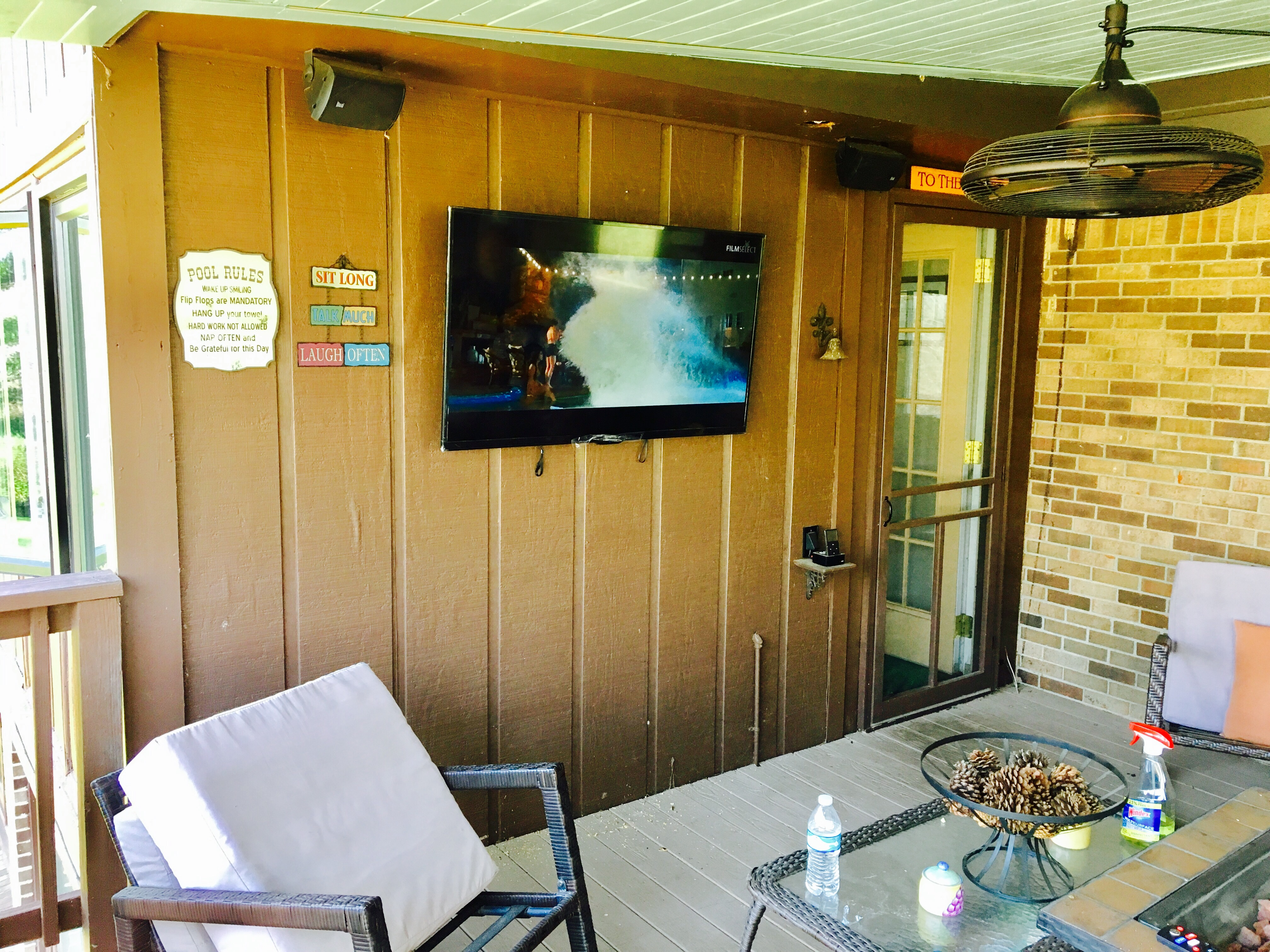 Tv Mounted Outside Underneath A Covered Deck Berea Ky Platinum Audio Visual