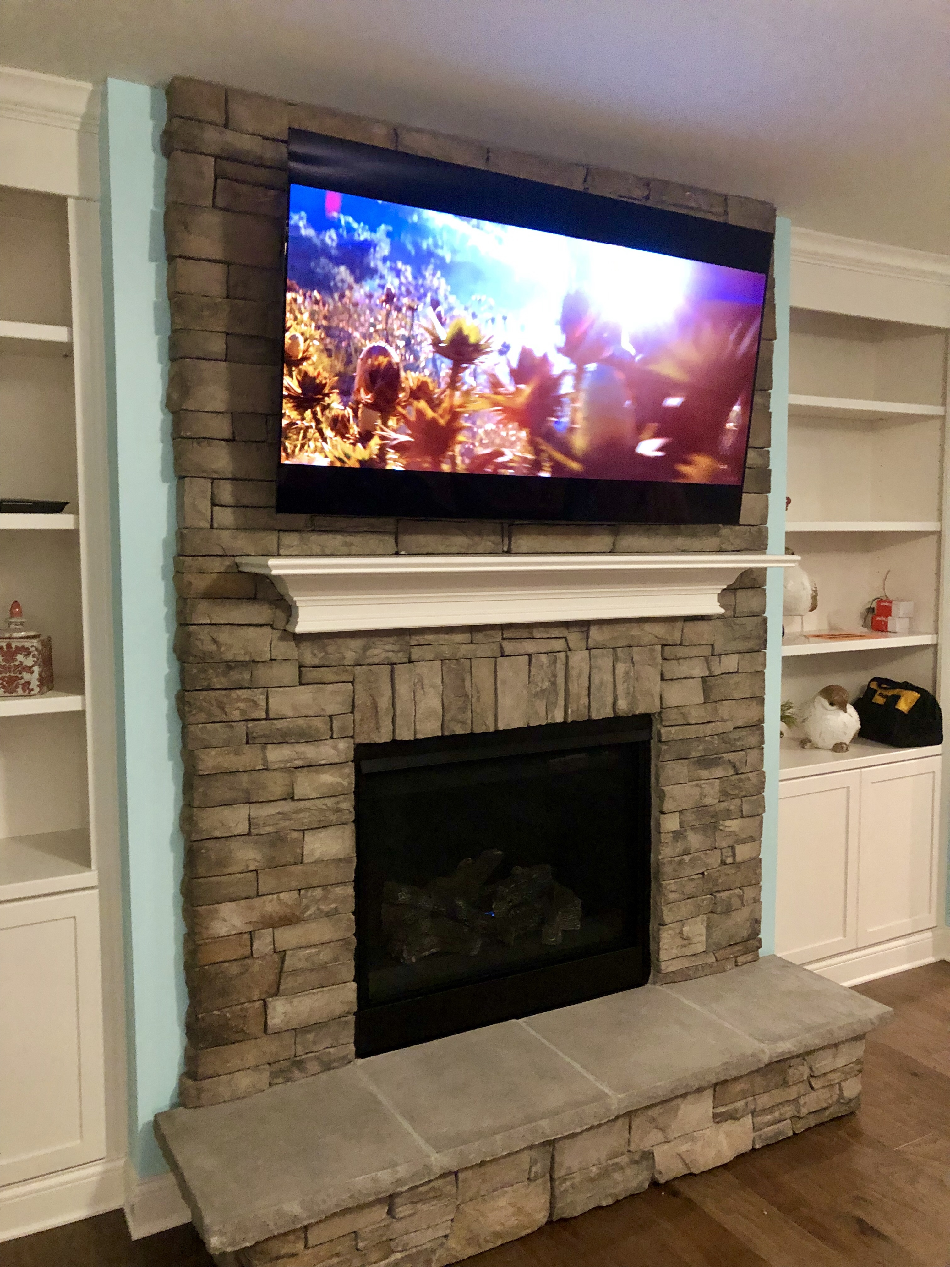 Rock Fireplace Tv Installation In Georgetown Ky Lg 65